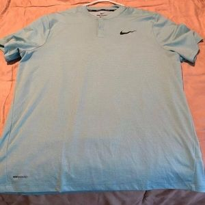 Mens Nike Aeroreact Golf Polo Shirt Light Blue XXL